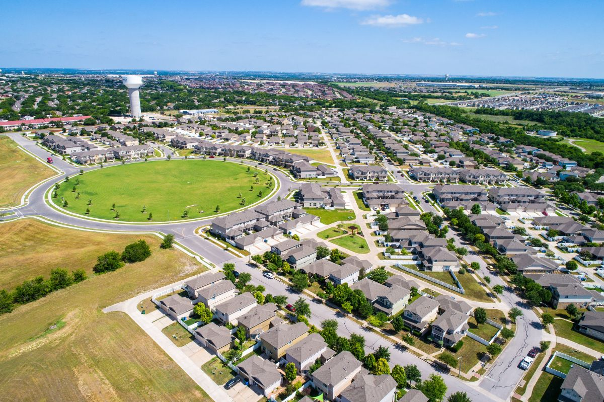 Aerial drone view of Pflugerville