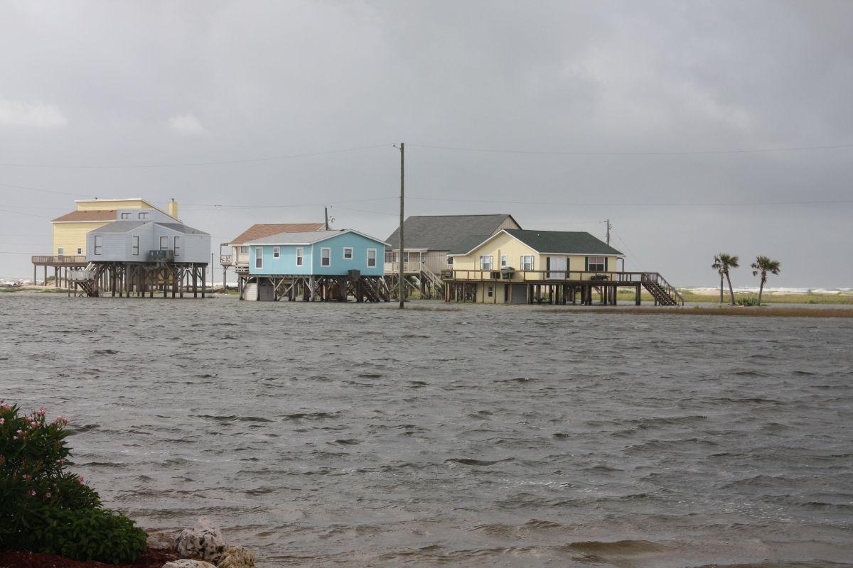 Post hurricane Alex flooding in coastal neighborhood of Treasure Island, Freeport Texas 77541