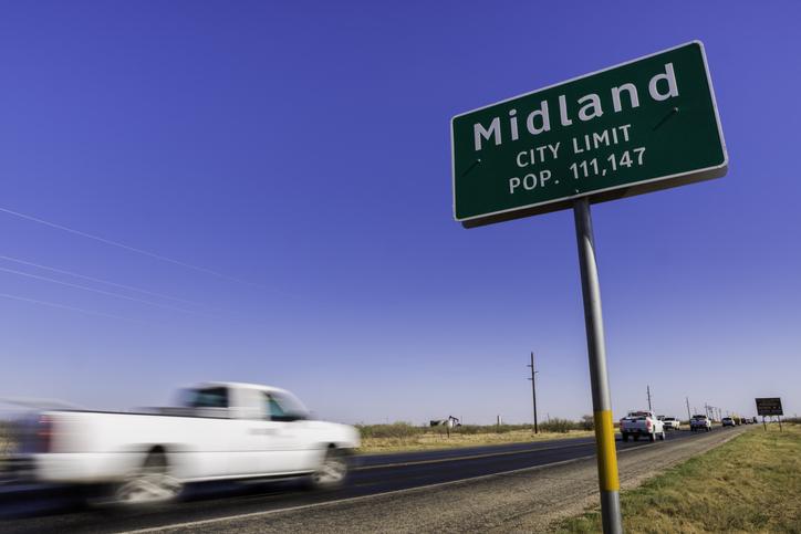 Midland, Texas, population sign