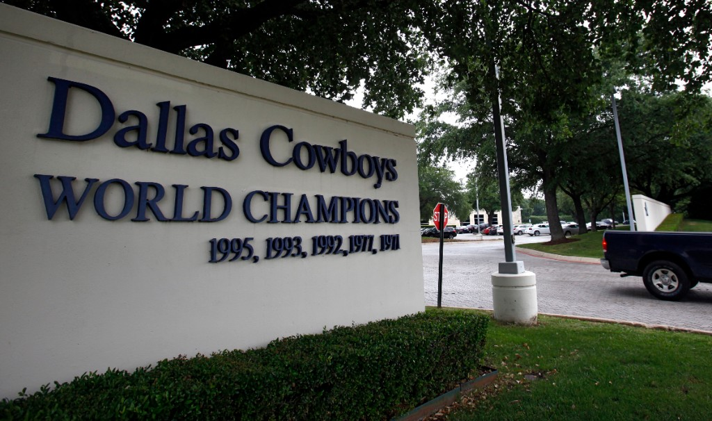 The front entrance of the Dallas Cowboys' Valley Ranch complex