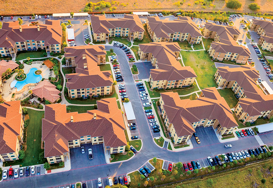 Aerial view of apartments/townhomes