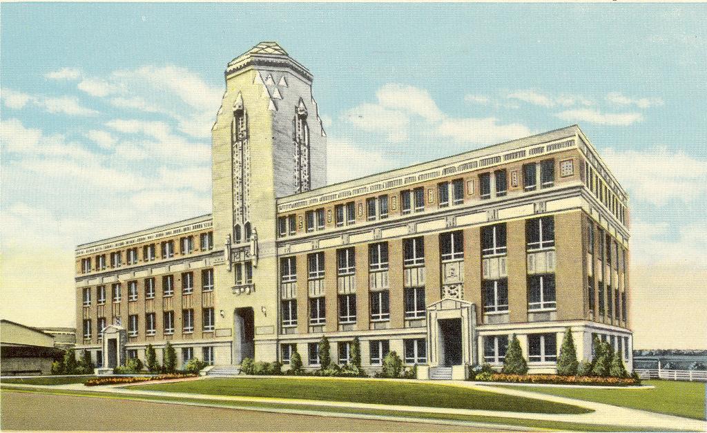 Drawing of Halbouty Geosciences Building, pre-1972