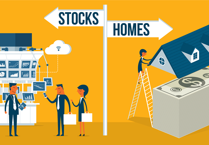 Graphic comparing buying stocks or homes