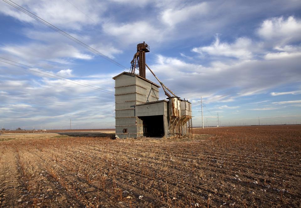 Grain elevator in rural Texas.