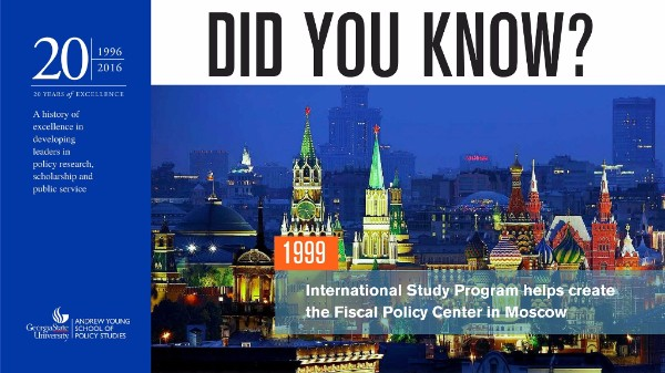 Did you know? In 1999, the International Study Program Helped create the Fiscal Policy Center in Moscow.