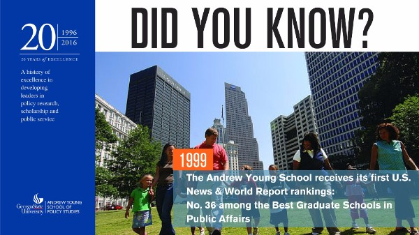 Did you know? In 1999, The Andrew Young School receives its first U.S. News and World Report rankings: No. 36 among the Best Graduate Schools in Public Affairs.