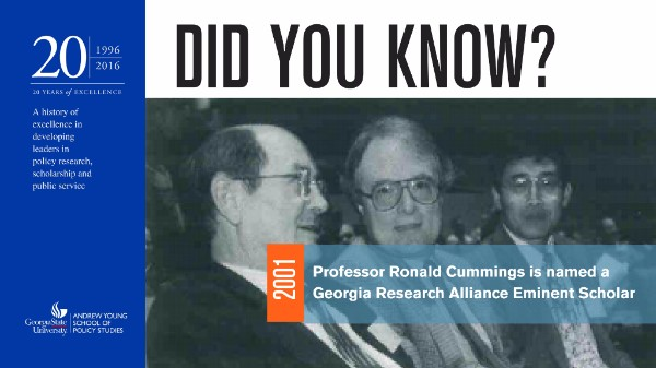 Did you know? In 2001, Professor Ronald Cummings was named a Georgia Research Alliance Eminent Scholar