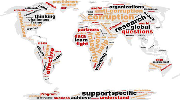 corruption word cloud overlaid on map of world