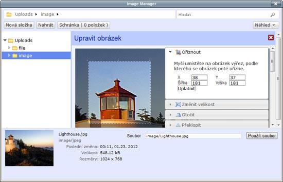TinyMCE - oříznutí obrázku v novém editoru