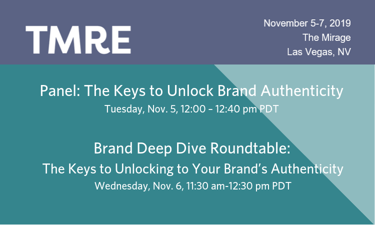 "Pictured: an image outlining the details of a panel called ""The Keys to Unlock Brand Authenticity"" and a roundtable called ""Brand Deep Dive Roundtable: The Keywords to Unlocking to Your Brand's Authenticity"" at the Market Research Event."