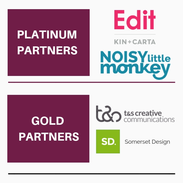 Platinum partners: Noisy Little Monkey, Edit. Gold partners: t&s creative and Somerset Design