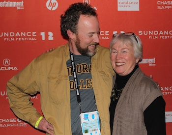 On the Sundance red carpet with my mom, who got me started skiing