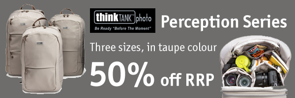 50% off Think Tank Perception bags in taupe