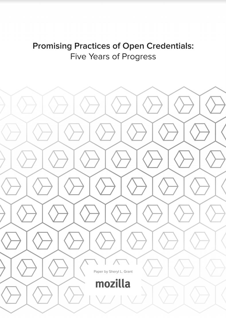 Promising Practices of Open Credentials: Five Years of Progress