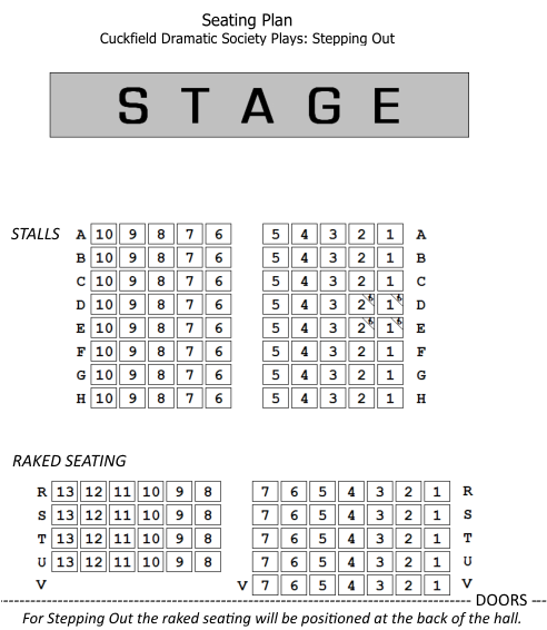 Stepping Out Seating Plan