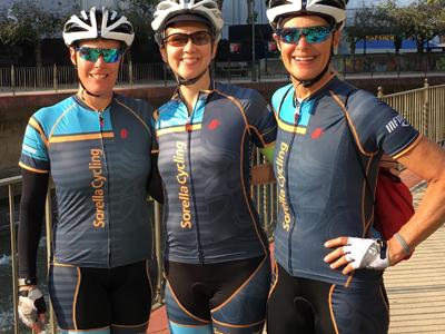 suzanne brockway karen hoffman jennifer klein of sorella cycling womens club atlanta