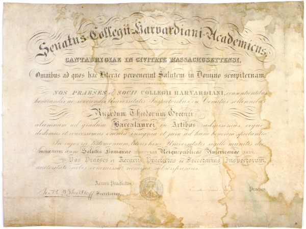 Harvard's First African-American Alumnus' Diploma