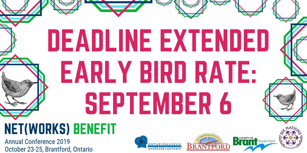 Banner reading 'Deadline Extended: Early Bird Rate: September 6'; text surrounded by octagons in conference colours