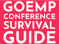 "Large white letters on a pink background read: ""GOEMP CONFERENCE SURVIVAL GUIDE"""
