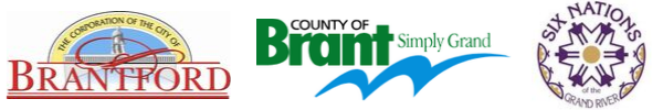 Logos of City of Brantford, County of Brant, Six Nations of the Grand River