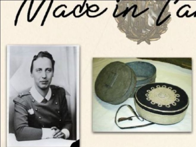 Two photographs: a black and white photo of someone in uniform, and a colour photograph of two hat boxes