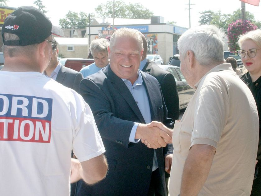 Doug Ford shakes supporters' hands
