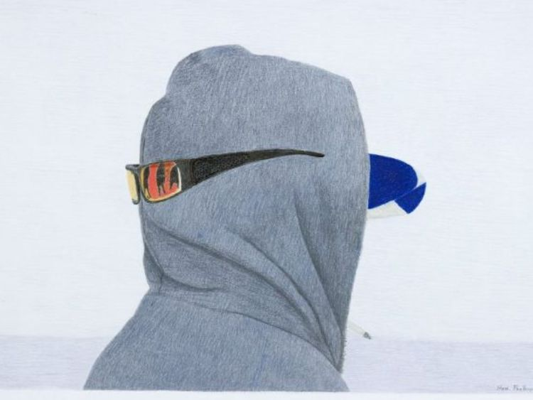 """Untitled (man with hoodie and sunglasses)"" by Itee Pootoogook"