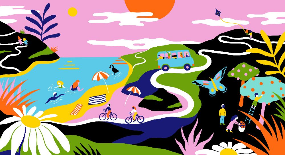 Whimsical illustrated landscape with people swimming, biking, driving, and picking apples.
