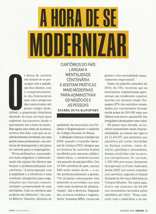 A hora de se modernizar