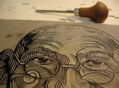 Linocut in progress by Nick Morley