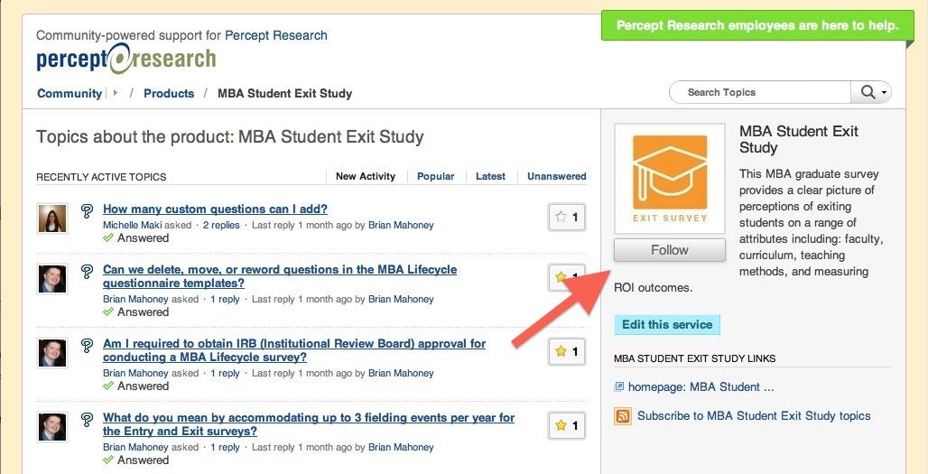 MBA Student Exit Survey Community