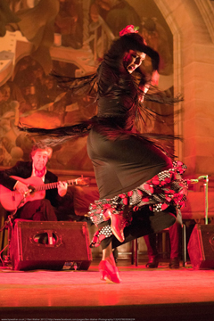 Flamenco dancer on stage with guitarist in background