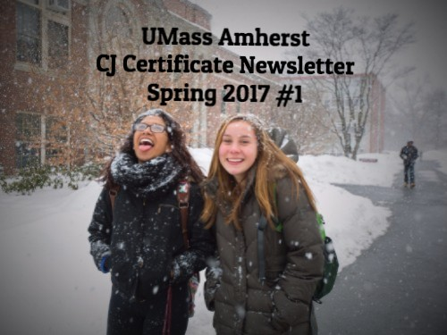Two students in snow at UMass