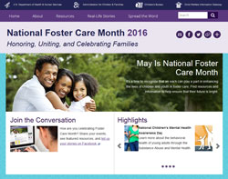 Home page image of 2016 National Foster Care Month site