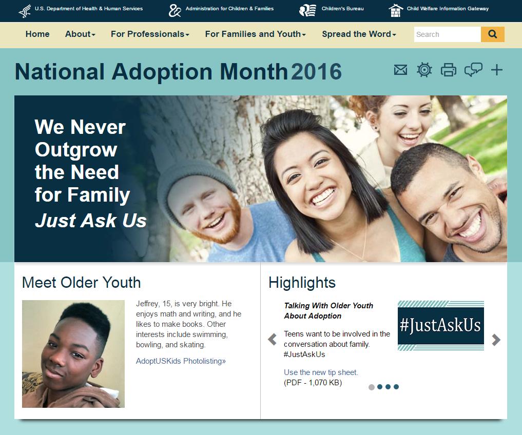 National Adoption Month homepage