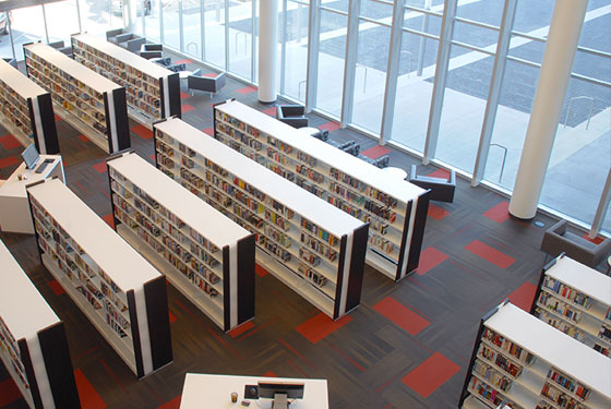 Cedar Rapids Public Library, new book, display shelving, lfi video, Nienkamper furniture, Biblomodel shelving