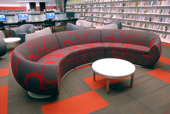 Cedar Rapids Public Library, children's area, children's furniture, Nienkamper Carlisle lounge chairs, TMC Furniture Flick chairs
