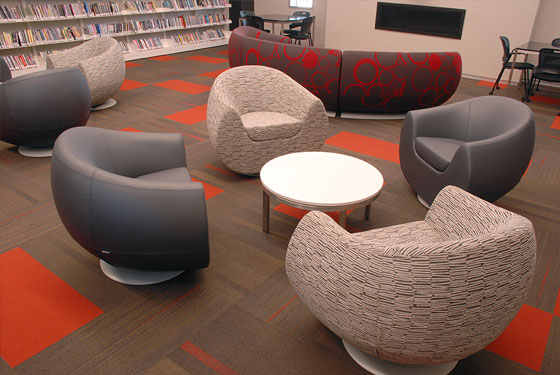 Cedar Rapids Public Library, Nienkamper Max™ lounge chair, ICF Cinema side table, 3branch magbox, mag|box