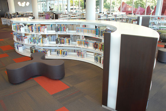 Clarendon Hills Public Library renovation, Nienkamper products, Biblomodel pinwheel shelving