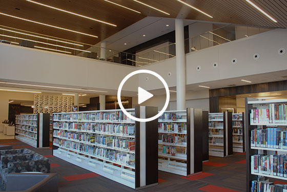 Cedar Rapids Public Library, lfi video, Nienkamper furniture, Biblomodel shelving