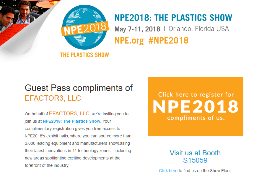 NPE 2018 Guest Passes Compliments of eFACTOR3!
