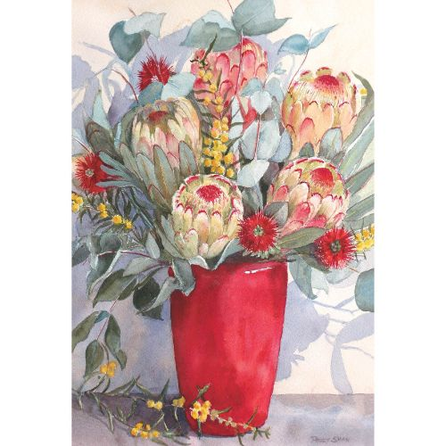 Proteas in Red Vase by Peggy Shaw