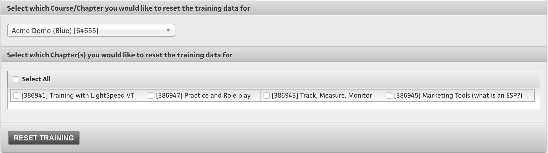 Reset Training Data