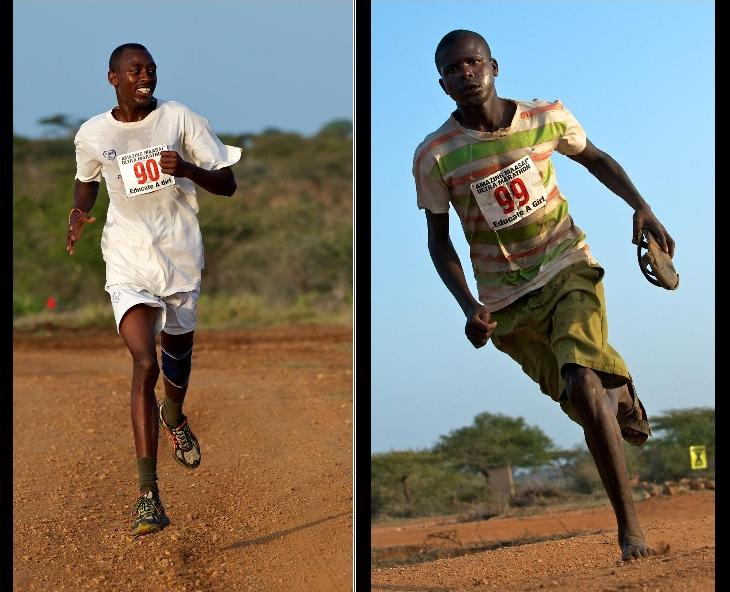 Kenyan runners caught on camera, whizzing by.