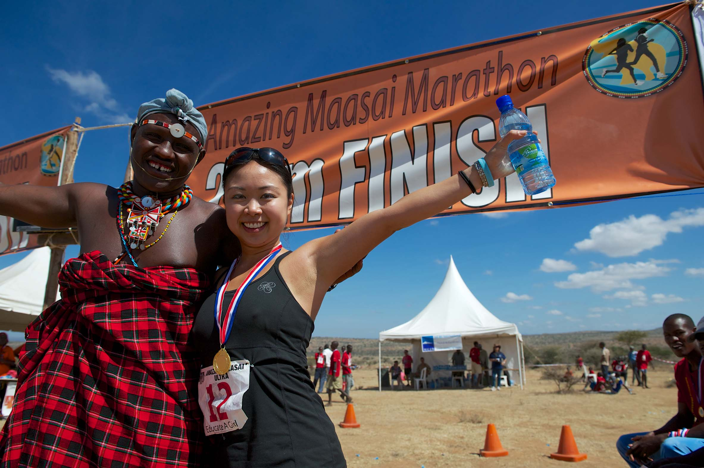 Sophia at the finish line with Paul. Success!