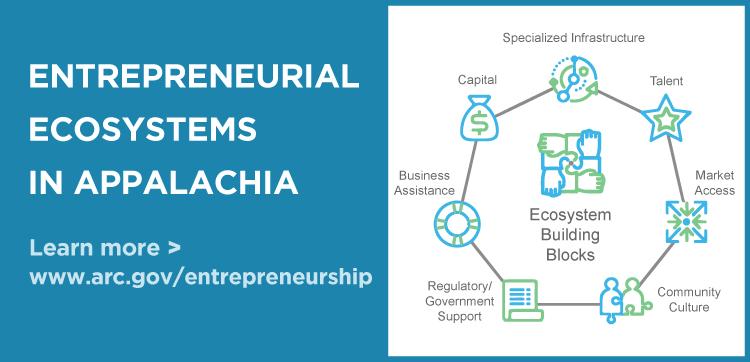 Entrepreneurial Ecosystems in Appalachia. Learn more > www.arc.gov/entrepreneurship
