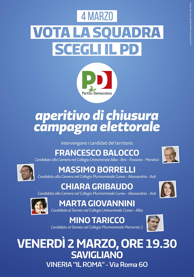 aperitivo chiusura campagna elettorale Savigliano