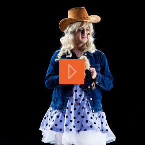 Learning disabled man dressed as a cowgirl
