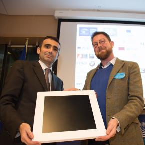 Ben Evans receiving an award