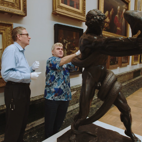 A man going on a touch tour at Tate Britain